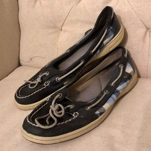 Navy Blue Sperry's with Plaid Detail